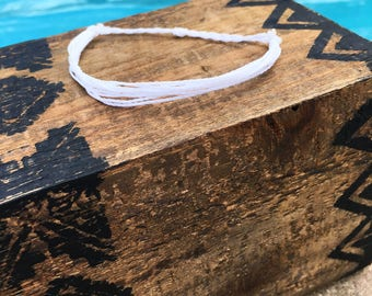 White Basic Stackable Bracelet, Wax String Bracelet, Friendship Bracelet, Waterproof Bracelet