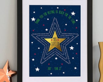 Personalised Star Word Art Teacher Gift