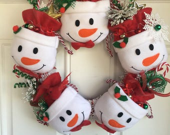 Snowman Treat Bag Wreath