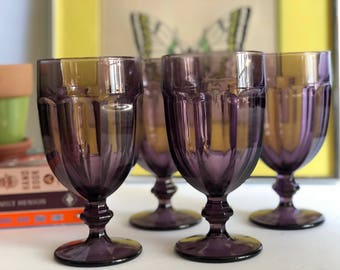 Amethyst Dura Tuff Goblets - Purple Libbey Drinking Glasses - Set of 7 Wine Glasses