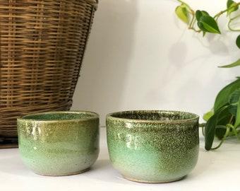 Vintage Ceramic Green Glazed Tea Cups