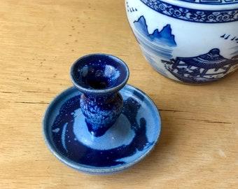 Blue Drip Ware Ceramic Candleholder