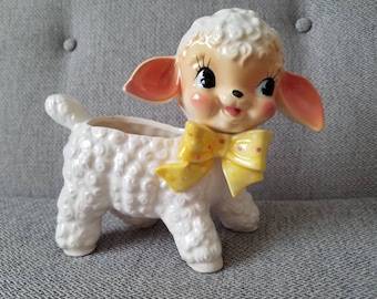 Vintage Napco Lamb with Polka Dot Bow