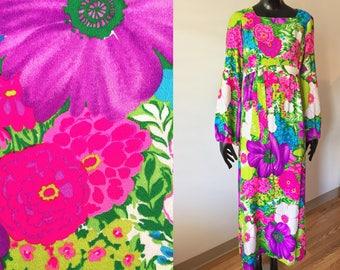 Vintage Pomare Tahiti Hawaiian Multicolor Neon Floral Barkcloth Maxi Dress