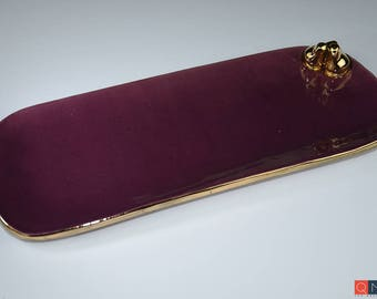 Gold-birds Platter, Large Rectangular Purple Plate, Handmade Luxury Ceramic, Melbourne