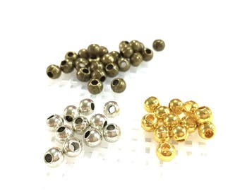 To Choose Silver/Bronze/Gold Round Small Meta Beads / RF F8482Metal Beads of 4 mm hole 2 mm pack 125 pcs