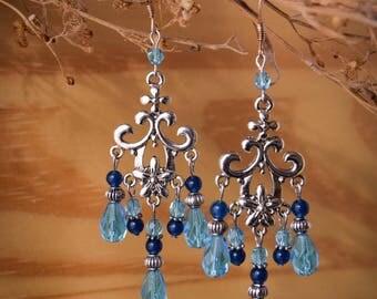 Silver earrings 925, dyed jade, glass - mermaids