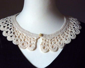 Crochet romantic or retro collar, ecru cotton yarn