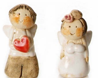 Wedding Favours | Miniature Newlyweds Charm | Angels Of Love | Wedding Gift | Lucky Charm | Quirky Handmade Figurine