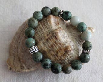 Stretch gemstone bracelet made of 10 mm beads of african turquoise and jasper, beaded blue semiprecious stone bracelet, gemstone bracelet