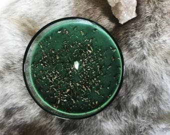 Basil & Herb Scented Soy Candle in Dark Glass