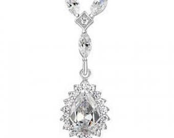 Tear Drop Silver Pendant - 925 Sterling Silver CZ