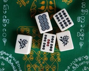 Five Mahjongg Bakelite Tiles Craft Supplies Retro