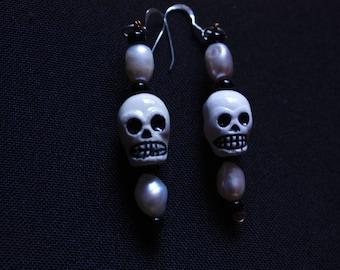Pearl and Skull Earrings