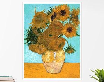 "Vincent Van Gogh, ""Vase with Twelve Sunflowers"". Art poster, art print, rolled canvas, art canvas, wall art, wall decor"