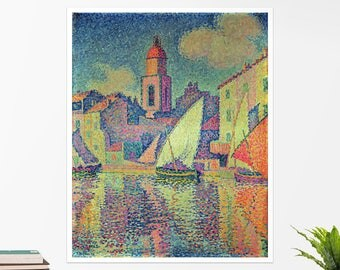"Paul Signac, ""The Clocktower at St Tropez"". Art poster, art print, rolled canvas, art canvas, wall art, wall decor"
