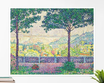 "Paul Signac, ""Terrace in Meudon"". Art poster, art print, rolled canvas, art canvas, wall art, wall decor"