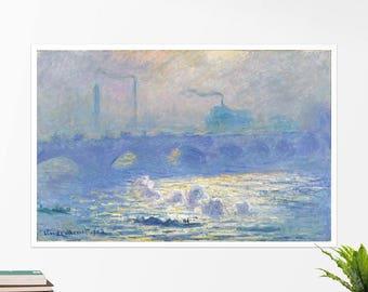 """Claude Monet, """"Waterloo Bridge"""". Art poster, art print, rolled canvas, art canvas, wall art, wall decor"""