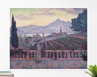 "Paul Signac, ""The Terrace, Saint Tropez"".  Art poster, art print, rolled canvas, art canvas, wall art, wall decor"