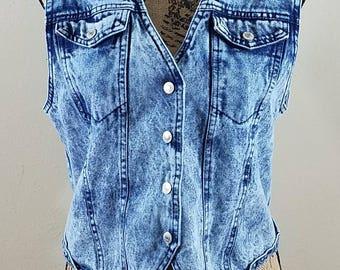 Vintage Acid Wash Denim Vest - size Small #237