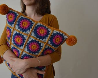 Crochet Cushion Cover with Pom Poms, Granny Square Cushion Cover