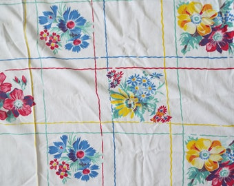 Vintage 1950's Yellow, white, blue floral square linen tablecloth