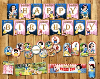 Snow White Package, Princess Snow White Bag, Baner, Snow White toppers, Snow White Cupcake toppers, Snow White | PACK_SNOW WHITE