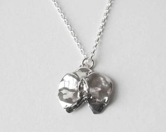 Small Sterling Silver Orchid Pendant /Handmade Silver Necklace/Gift for Her/Silver Flower Pendant/Romantic Gift/Silversmith Jewellery