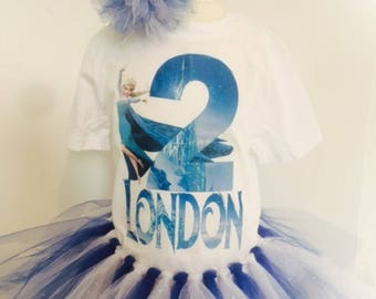 Frozen Birthday Outfit,Frozen Tutu Outfit,Custom birthday outfit,Personalised shirt,Smash cake outfit.( Any name or age)