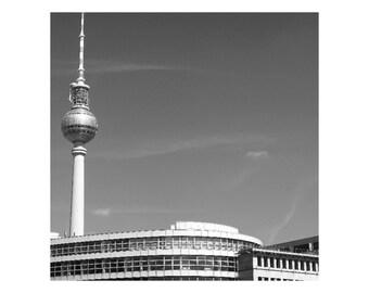 Berlin; Fernsehturm Mounted Black & White Print