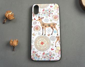 Elk iPhone X case, iPhone x case, iPhone x cover, Cute iPhone x case, Animal iphone x case