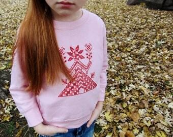 Hand-embroidered sweatshirt with Slavic pagan Goddess