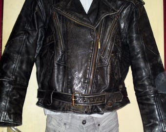 GRINGO - Vintage 60's Motorcycle Biker Cowhide Leather Jacket from Canada, size XL