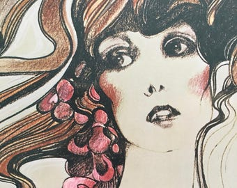 70s Glamour Litho - 1975 Harpaz Laminated Lithograph 'Portriats' 892