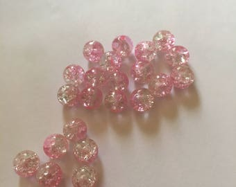 transparent glass beads 8 mm 15gr. approximately 20 beads.