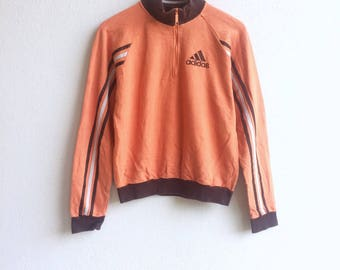 The brands with three stripes! Rare ADIDAS 3 STRIPES zipper small logo embroidery sweater orange colour small size