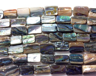 "Abalone Shell Beads, Rectangle, 7x9mm-10x13mm, 16"" strand (approx 30 pcs), 1mm hole, one strand"