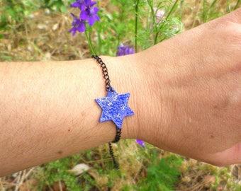 glittery blue enamel star bracelet
