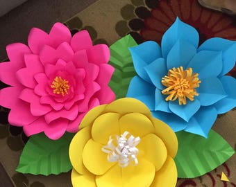 Bright colored paper flower backdrop