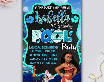 Moana Invitation/ Moana Pool Party Invitation/ Moana Pool Party/ Moana Birthday Invitation/ Moana Birthday/ Moana Party/ Moana Birthday Card