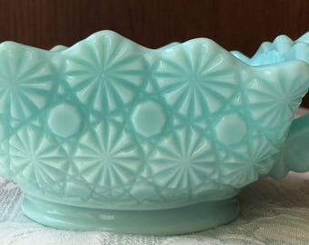 Vintage Fostoria Aqua Blue Milk Glass Square Nappy in the Daisy & Button Pattern
