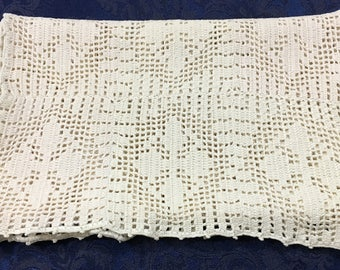 Large Vintage Hand Crafted Panel Table Runner Dresser Scarf 43 x 12  R46