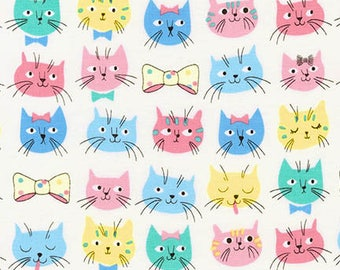 Robert Kaufman Whiskers & Tails Cat/Pastel/Cotton/Fabric/Sewing/Quilting