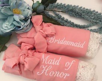 Custom bridesmaid robes set of 5, bridesmaid gifts, cotton lace robes, bridal robes, wedding gifts, getting ready robes, bridal party robes
