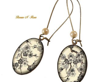 Earrings cabochon bronze brown beige bronze-n-pink Apple blossoms