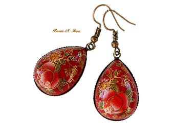 Earrings drops print Chinese Red Chinese new year