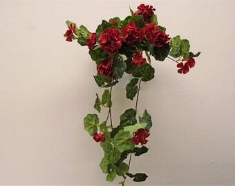 "RED Geranium Hanging Bush 28"" Artificial Silk Flowers 57139RD"