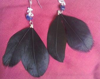 Boho black feather and gemstone earrings