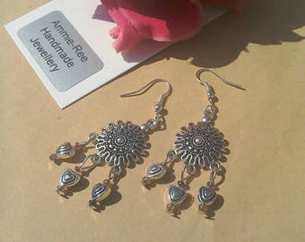 Heart Chandelier earrings, antique silver plated