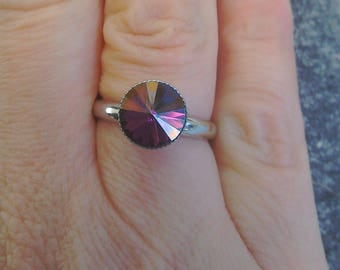 Titanium adjustable ring in crystal lilac